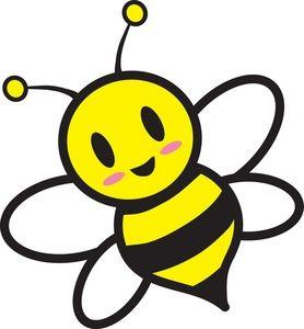 Honey Bee Clipart Image: Cartoon honey bee flying around