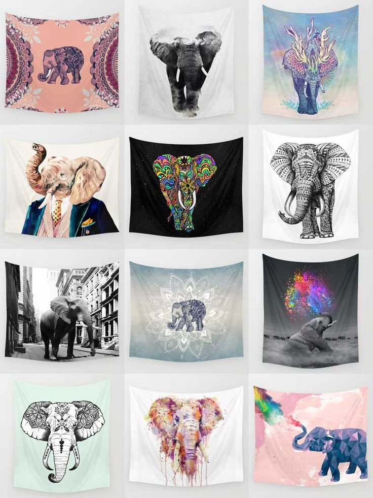 Society6 Elephant Tapestries - Society6 is home to hundreds of thousands of artists from around the globe, uploading and selling their original works as 30+ premium consumer goods from Art Prints to Throw Blankets. They create, we produce and fulfill, and every purchase pays an artist.