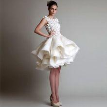 Robe De Soiree Courte Abendkleider 2017 A Line Sleeveless Organza Appliuqes Short Evening Dress Abiye Gece Elbisesi(China (Mainland))