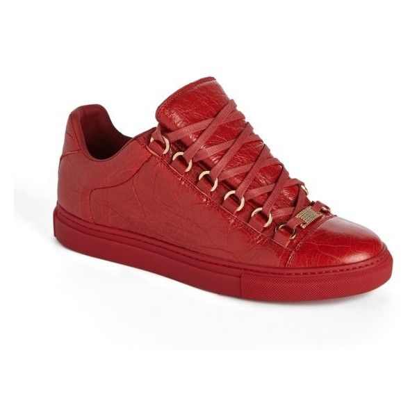 Women's Balenciaga Low Top Sneaker ($595) ❤ liked on Polyvore featuring shoes, sneakers, red leather, red trainers, genuine leather shoes, leather shoes, balenciaga sneakers and low profile sneakers