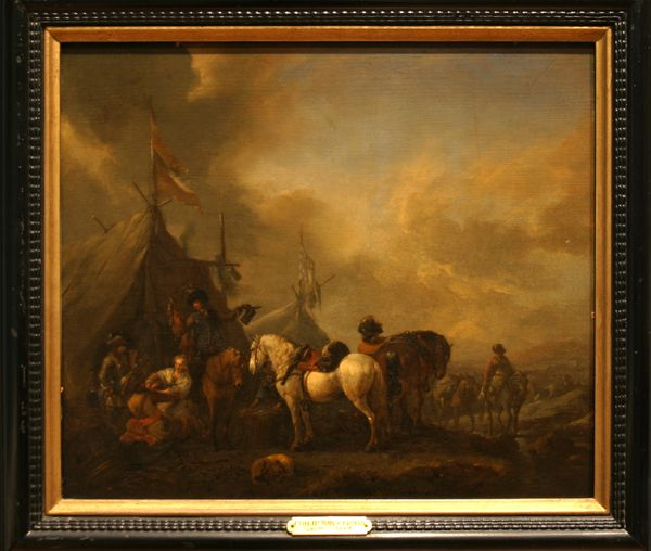 """Phillilps Wouwerman. """"Landscape with Soldiers Before a Market."""" mid 17th C. Oil on panel."""