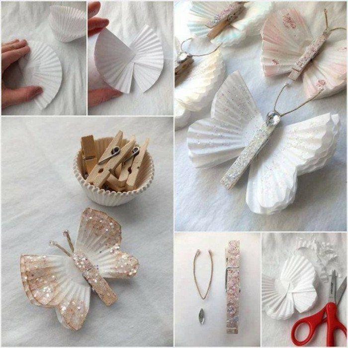 tutoriel pour fabriquer un papillon avec des moules à muffins blanc et des pinces à linge en bois, activité créative de printemps DIY