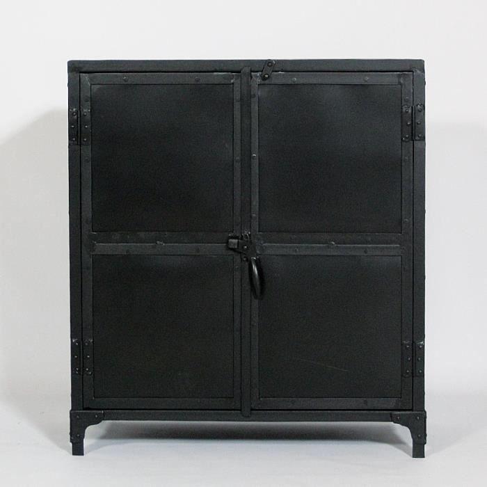 Buffet metal noir 2 portes plateau bois colore ... - Achat / Vente buffet - bahut Buffet metal noir 2 portes ... - Cdiscount 377 €