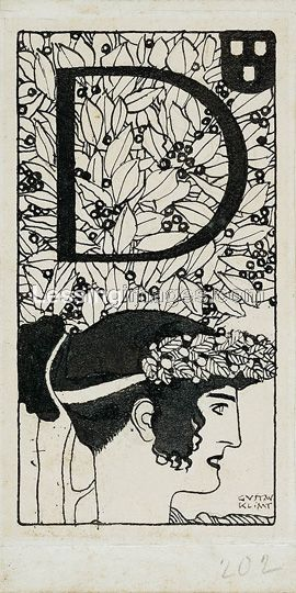 "Gustav Klimt - Initial ""D"", 1898. Pencil and  pen & ink drawing (19.5 x 9.8 cm) appeared in the third issue of Ver Sacrum, the magazine of the Art Nouveau Secession movement in Austria"