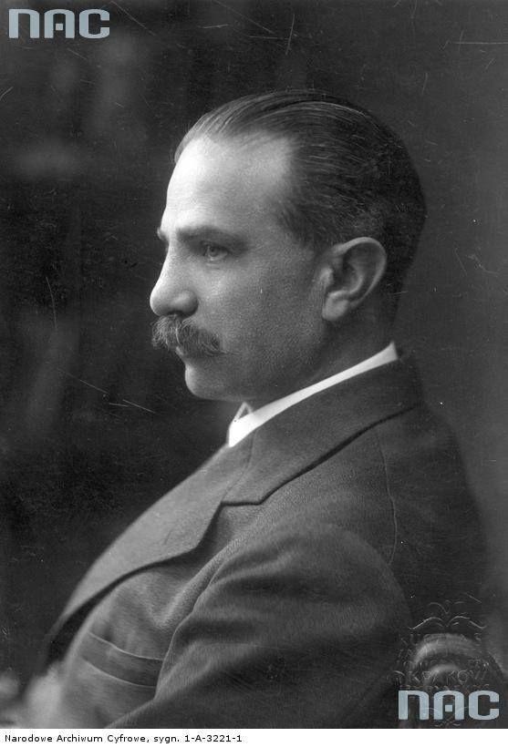 Władysław Belina-Prażmowski, prezydent Krakowa. Fotografia portretowa z profilu.