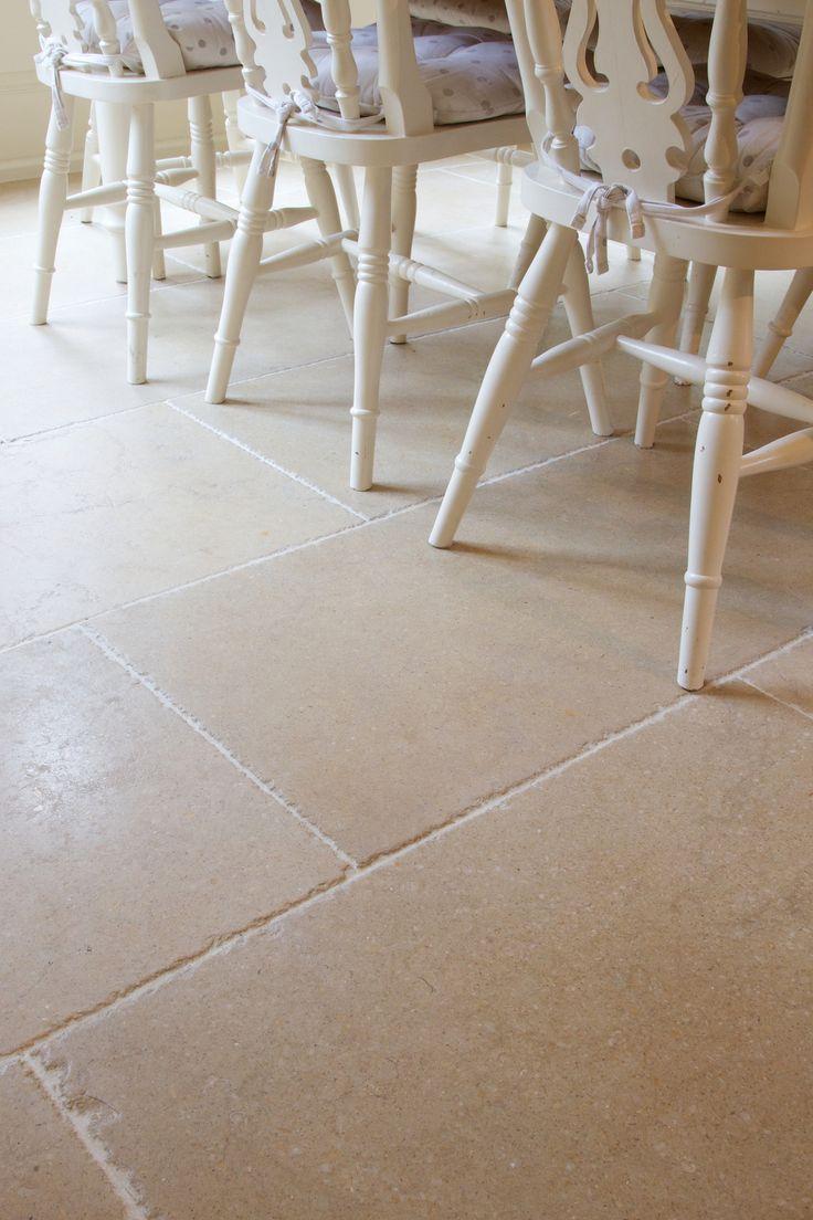 Stockbridge Limestone flooring for a country kitchen from Artisans of Devizes. www.artisansofdevizes.com
