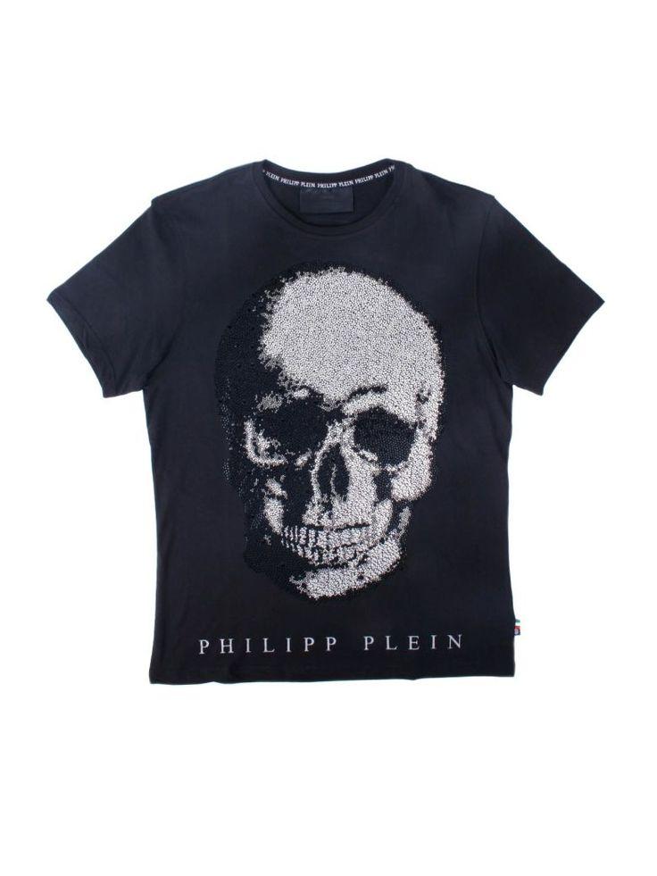 PHILIPP PLEIN Philipp Plein Black Cotton Kivo T-shirt With Swarovski. #philippplein #cloth #