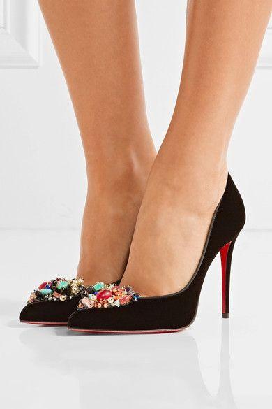Christian Louboutin | Iva Cora 100 embellished velvet point-toe pumps | NET-A-PORTER.COM