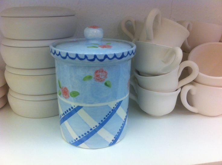 Wunderschöne Vorratsdose. Handbemalte Keramik