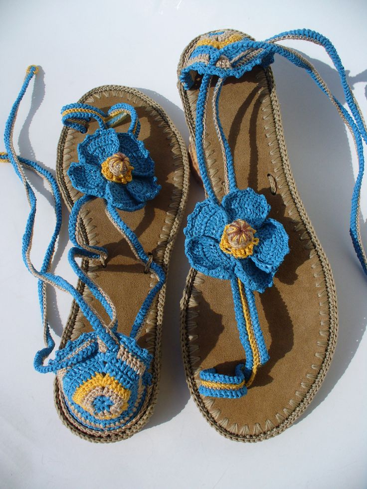 Himalayan Blue Poppies Crochet sandals created by LeeLu