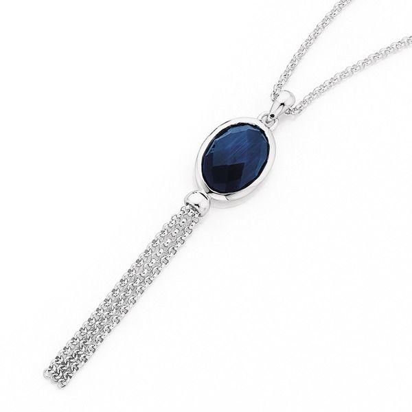 Sterling Silver Blue Cubic Zirconia Tassel Pendant