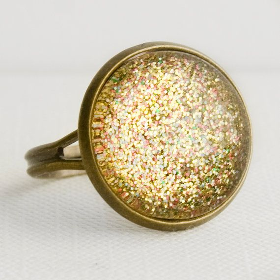 Golden Treasure Ring in Antique Bronze  by EnchantdLookingGlass, $11.20Gold Multicolored, Glittery Gold, Etsy Marketplace, Multicolored Sparkle, Golden Treasure, Glasses Rings, Jewelry, Golden Years, Antiques Bronze