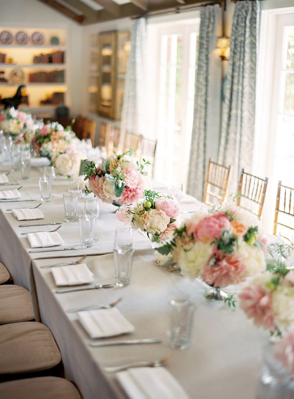 Blush and pink peony dahlia centerpieces for Long table centerpieces