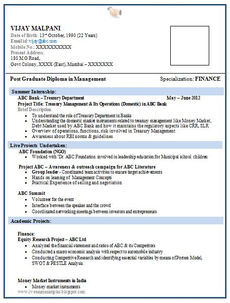 latest fresher mba finance resume sample in word doc free