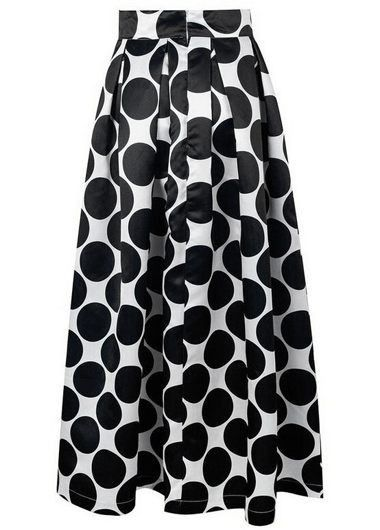 Black and White Dot Print High Waisted Maxi Skirt