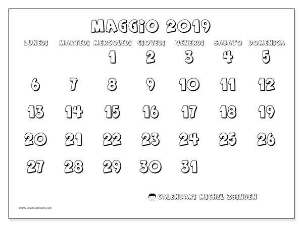 Calendario Mese Di Luglio 2019 Da Stampare.Calendario Maggio 2019 56ld Schemi Vasetti Calendario