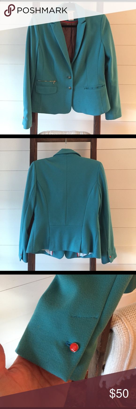 Turquoise blazer Great looking turquoise blazer with cute coral button details. Only worn a handful of times-in great condition! Esley Jackets & Coats Blazers