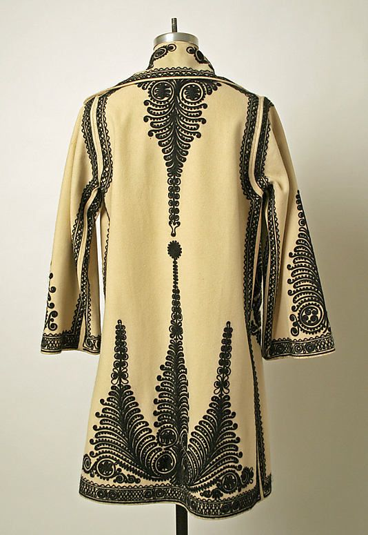 Kalotszegi Embroidery. Early 20th c. wool Hungarian/Romanian coat, Met collection.