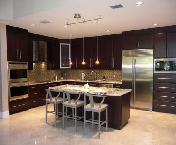 contemporary kitchen design   Modern kitchen with an earthy color palette and stainless steel ...