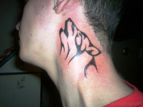 Tribal Alpha Wolf Tattoo Design On Neck Tribal Wolf Tattoo Neck Tattoo Wolf Tattoo Design