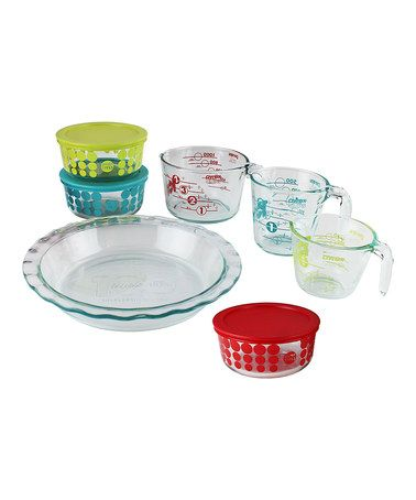 Love this Green, Red & Turquoise 10-Piece Prep, Bake & Store Set on #zulily! #zulilyfinds