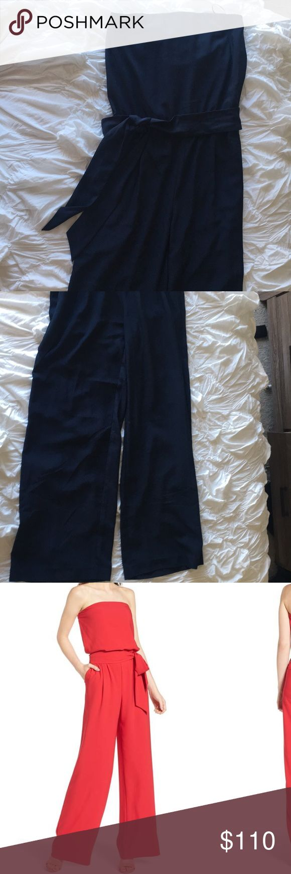 Strapless Jumpsuit - Navy Hard to take pictures of, but it's the red jumpsuit just in navy. Strapless, ties around the waist, wide legged - super cute and flattering! Only worn once. Trouve Pants Jumpsuits & Rompers