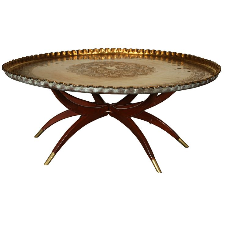 Large Vintage Round Hand Hammered Brass Tray Table Top On Folding Mahogany  Wooden Stand. Engraved And Embossed Large Round Brass Tray.