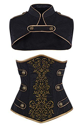 awesome Camellias Women's Steel Boned Tamra Velvet Steampunk Corset