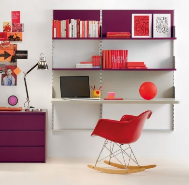 Kids Study Area with Splash Color Desk: Purple Desk And Shlef With Red Chair And Accent