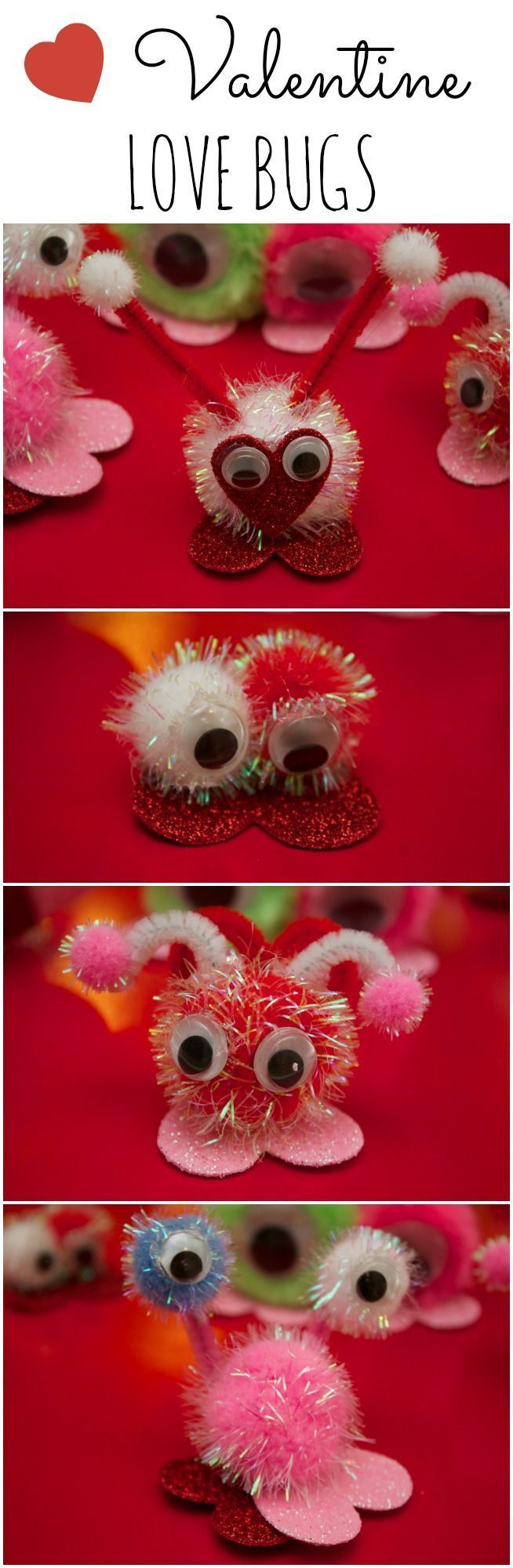 LOVE BUGS! Valentine Craft Ideas For Kids. Valentine Love Bugs are a simple craft that is perfect for preschoolers and older kids as well.