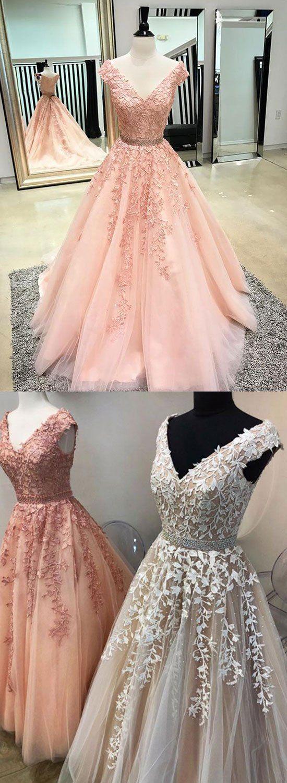 Custom made v neck lace tulle long prom dress, evening dress – trendty