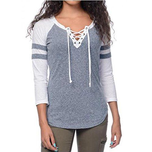 yistu femmes automne hiver lace up splicing v neck top blouse sports t shirt