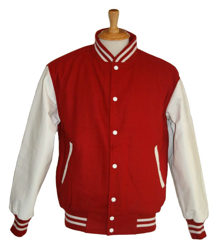 Red wool with White leather sleeves - in stock and available for immediate delivery through our Facebook store  https://www.facebook.com/TeamVarsityJackets
