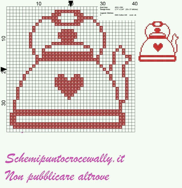 Tetera cenefa cross stitch. Punto de cruz.