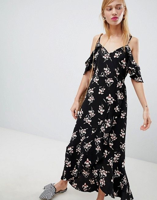 935c84417a1 New Look Wrap Cold Shoulder Maxi Dress in 2018