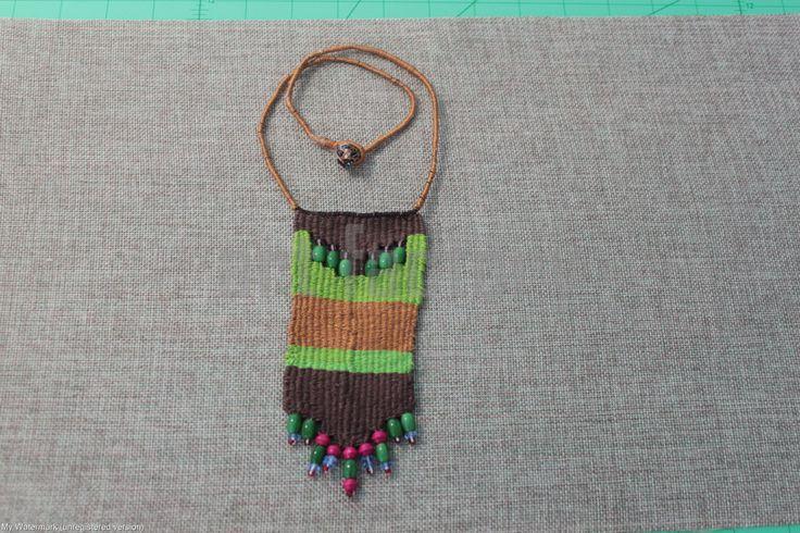Folk Woven Necklace by HappyArtAndStuff on Etsy