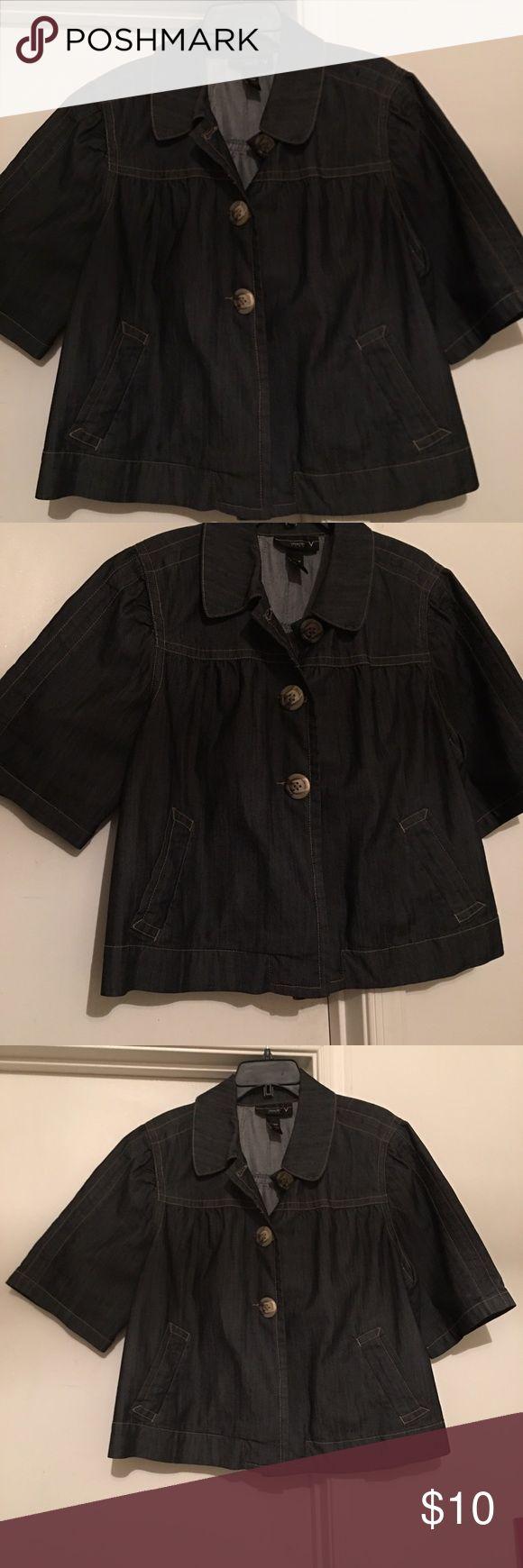 Short Sleeve Jean Jacket Gently used short sleeve jean jacket. Size 18/20 Venezia Jackets & Coats Jean Jackets