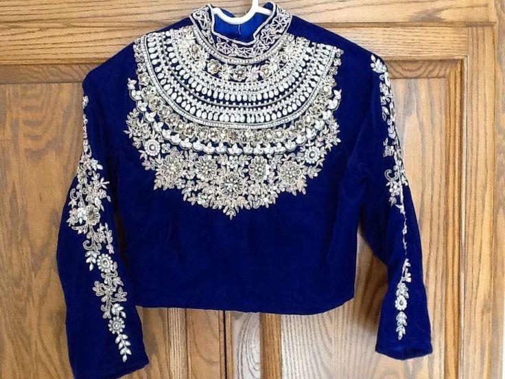 Maharana Style Royal Blue Velvet Saree Blouse Choli Sari