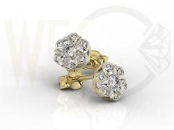 Kolczyki z żółtego i białego złota z brylantami / Earrings made from white and yellow gold with diamonds / 2 333 PLN / #jewellery #earrings #diamonds #brylanty #kolczyki #bizuteria