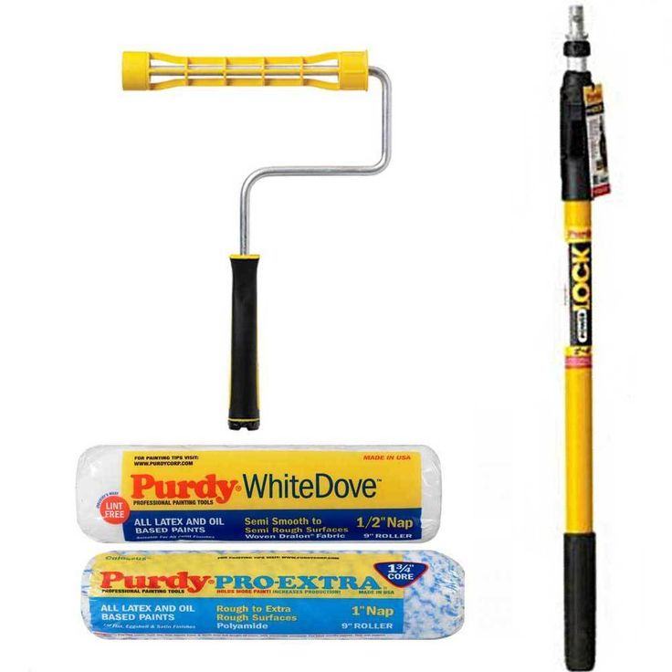 2-4 Purdy PowerLock Extension Pole ,9   Paint Roller Frame, 9  Colossus & Dove