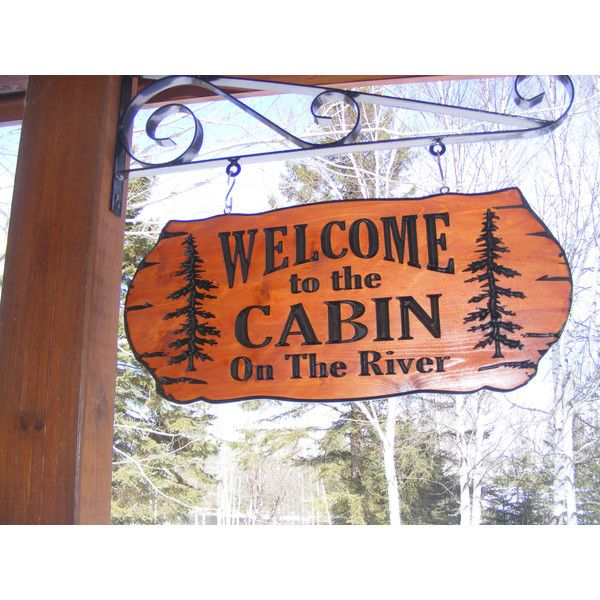 Cabin Name Sign Family Name Address Sign 22 X 9 Northern Cedar Carved... ($72) ❤ liked on Polyvore featuring home, home decor, wall art, brown, home & living, home décor, wall décor, wall hangings, wooden family name signs and wood signs