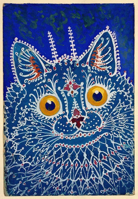 Antikes Art Deco Illustration Porträt einer blauen Katze DIGITAL DOWNLOAD