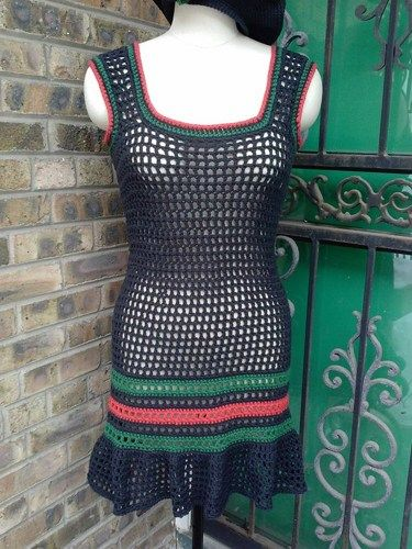 Hand Crocheted Cover Up Dress Red Black and Green | Corneliascreativecorner - Clothing on ArtFire