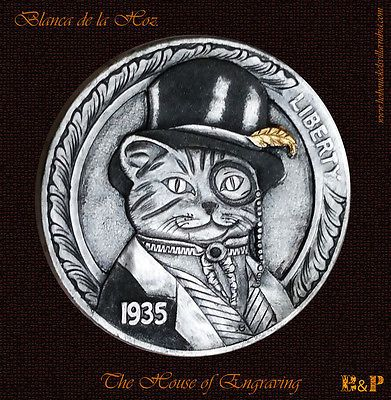 "Hobo Nickel 1935-S ""Mr. Cat"" Carved by Blanca de la Hoz"