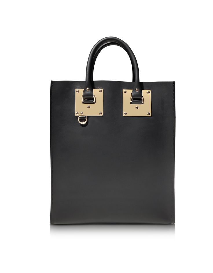 Sophie Hulme Black Leather Tote Bag at FORZIERI
