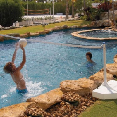 Water Volleyball Pool Game:  This Water Volleyball Pool Game is perfect for hard-hitting aquatic action. Ruggedly built for years of enjoyment, this poolside game can be left outside year-round, or drain it quickly for easy storage.