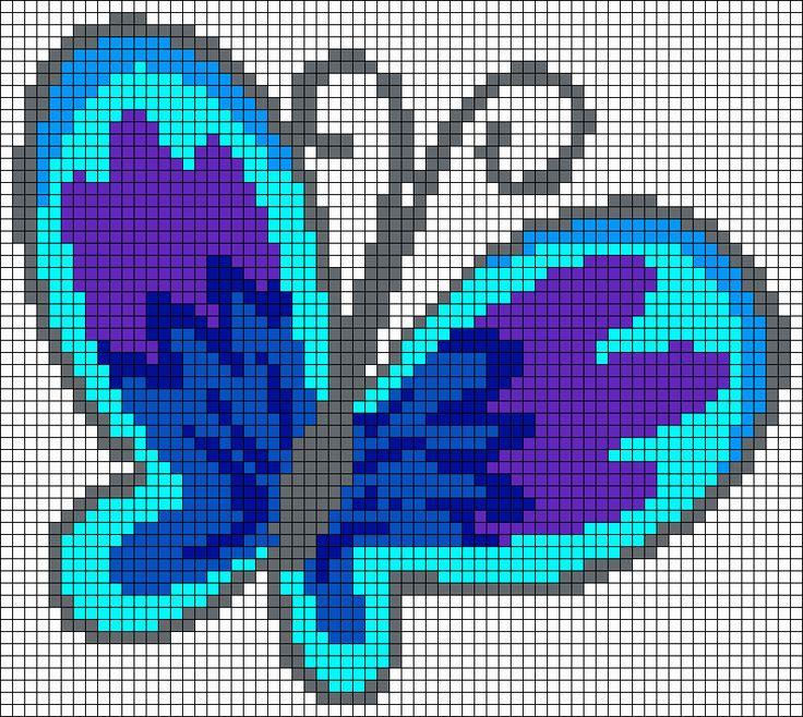 17 Best images about Point de Croix Papillons on Pinterest ... - Pixel Art Papillon
