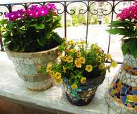 How to make mosaic plant pots. Follow link near bottom of page.