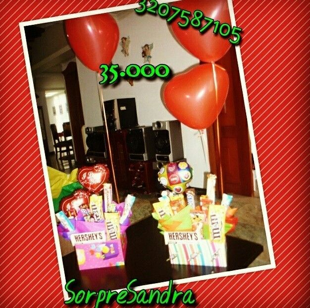Dulces,globos,amor y amistad,anchetas,detalles,chocolatas,regalo,