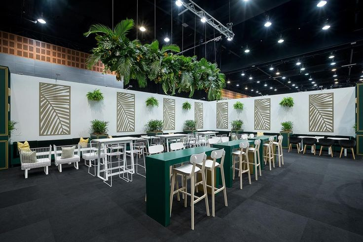 Lush green StyleMe furniture in the Platinum Lounge @ AREC 2017